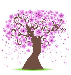 cherry tree background vector image vector image