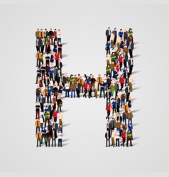 large group of people in letter h form vector image vector image