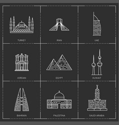 middle east landmarks the collection include vector image