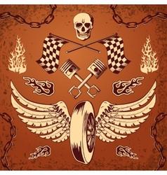 Motorcycle bike vintage design elements vector image