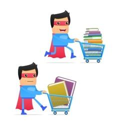 superhero carting books vector image