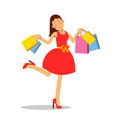 young happy smiling woman in red dress standing vector image