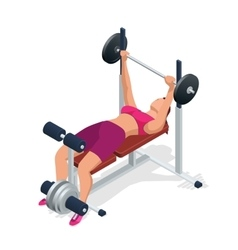 Young woman with barbell flexing muscles in gym vector