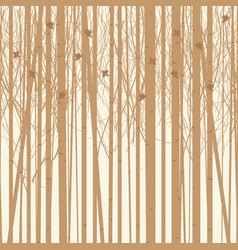 Background birch trees with birds vector