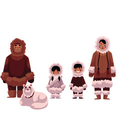 eskimo inuit family of father mother and kids vector image vector image