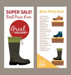 Men autumn boots vertical flyers vector