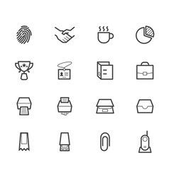 office black icon set on white background vector image