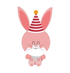Pink and cute baby rabbit with hat party vector image