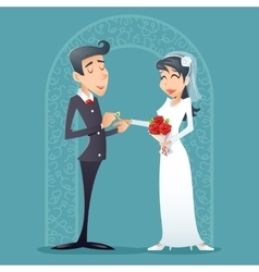 Bride and groom vintage happy smiling male female vector