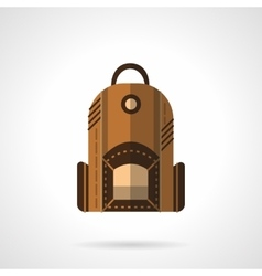 Brown backpack flat icon vector image vector image