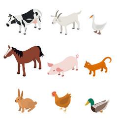 cartoon farm animal color set vector image