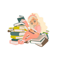 cartoon girl reading book sitting book pile vector image