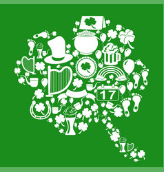 clover leaf with st patrick icons on green vector image
