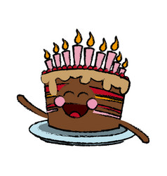 Kawaii cake chocolate candles happy party vector