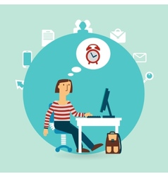 office worker thinking about time vector image vector image