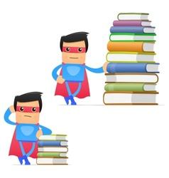 superhero with books vector image