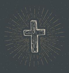 Vintage label hand drawn christian cross vector