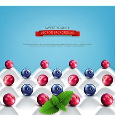 wave yogurt with berries vector image vector image