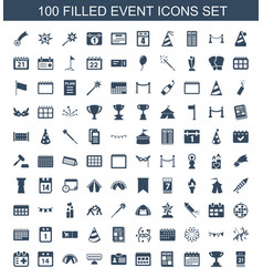 100 event icons vector
