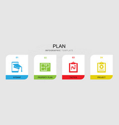 4 plan filled icons set isolated on infographic vector
