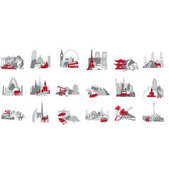 a set of miniatures symbolizing the country vector image vector image