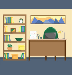 an office with a bookcase desk with a lamp vector image