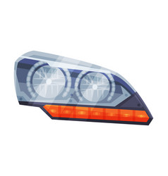 Automotive auto car headlights front glowing vector