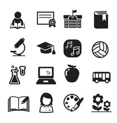 Basic school icon set vector