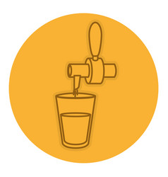 Beverage dispenser tap with a glass vector