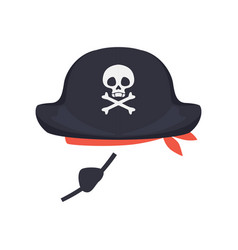 Black pirate hat with skull and eye patch vector