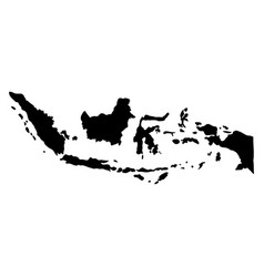 Black silhouette country borders map of indonesia vector