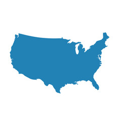 blank blue similar usa map isolated on white backg vector image
