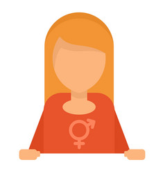 Blonde hair lesbian girl icon flat style vector