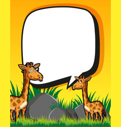 Border template with giraffes in field vector