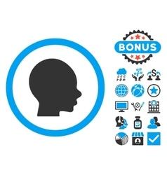 Boy Head Flat Icon with Bonus vector image
