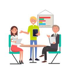 Brainstorming meeting people sitting at table vector