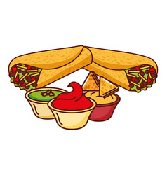 Burritos and sauces in bowl mexican food vector