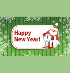 card for the new year with santa claus on a green vector image