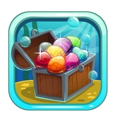 Cartoon app icon with treasure chest vector image