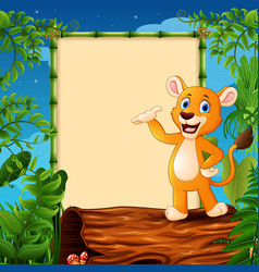 cartoon lion standing on hollow log near the empty vector image