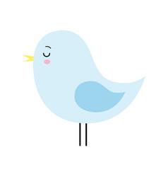 cartoon style cute blue sleeping bird isolated vector image