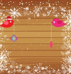 Christmas background with snowflakes and bird vector