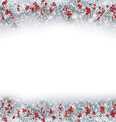 Christmas Banner with Silver Fir Twigs vector