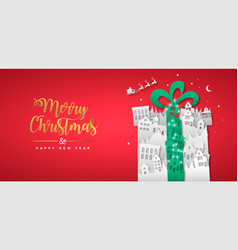 Christmas new year paper cut gift winter city vector