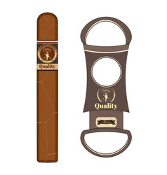 Cigar and cigar cutter flat vector