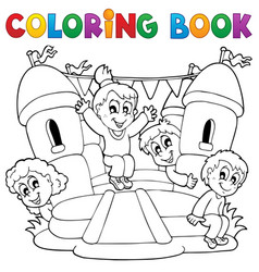Coloring book kids play theme 5 vector