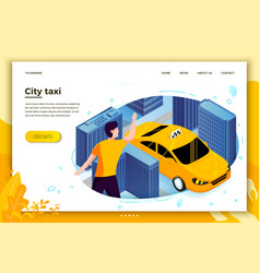 concept man catching taxi cab vector image