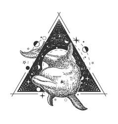 Creative geometric ocean dolphin tattoo art vector
