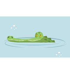 Crocodile in water large alligator in swamp Cute vector