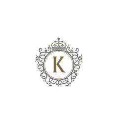 crown leaf logo initial k vector image